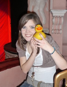 Clare and one of her ducks!