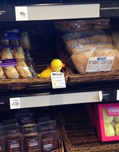 Thank you to Deb Tunstall for this photo of her little duck waiting to be found in the bakers!