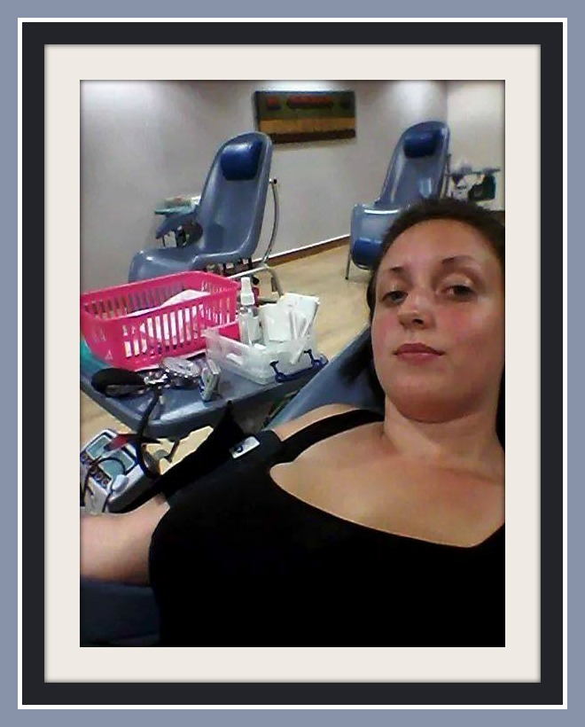 Emma making her first ever blood donation - what a star!