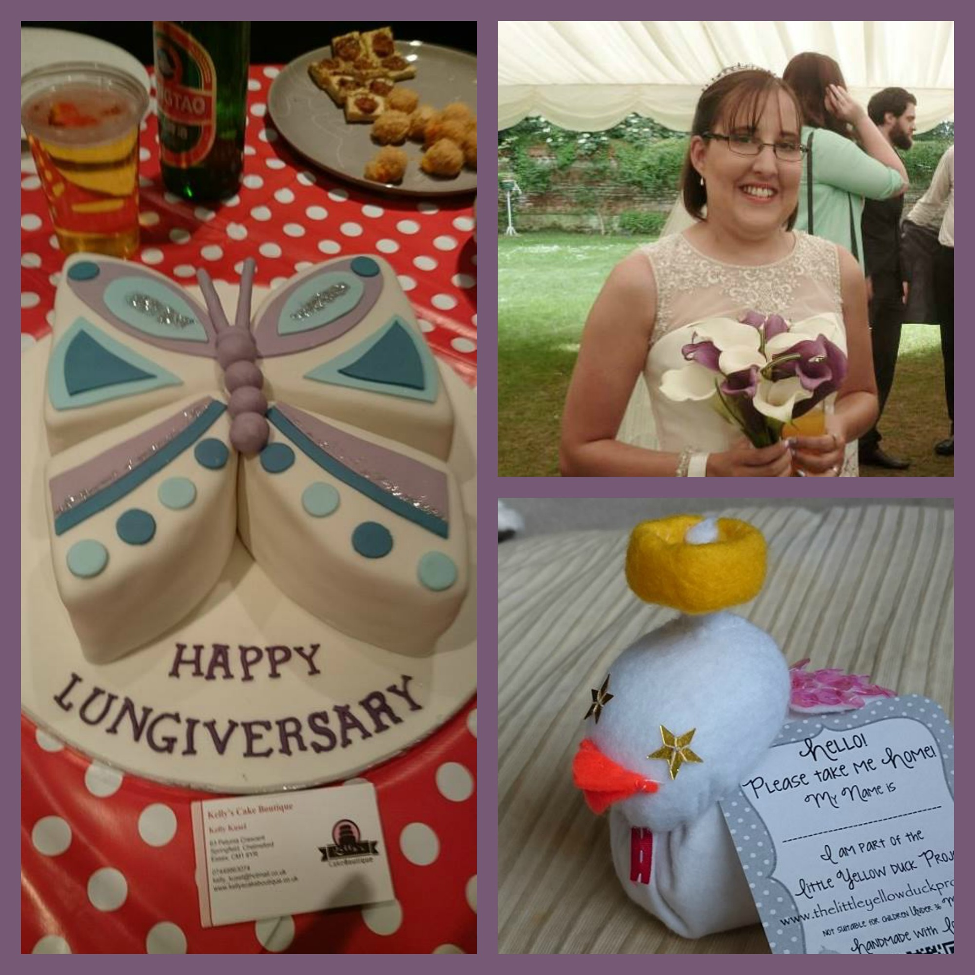 "Photos (clockwise from left): Karen's Anniversary cake, Karen on her wedding day, Karen's handmade duck in memory of her ""donor angel"""