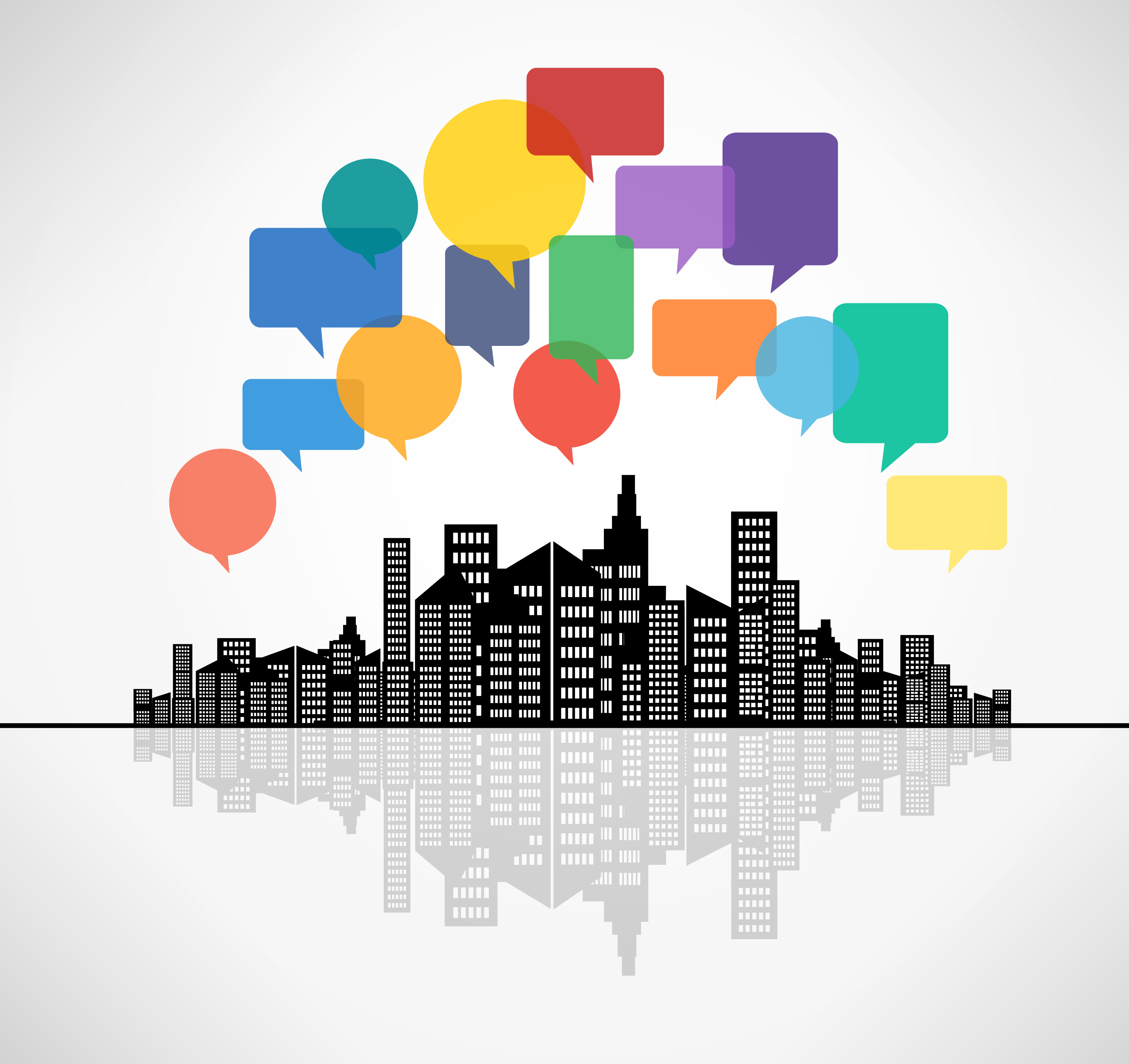 Speech bubbles above the city - Modern communication concept